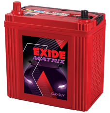 Exide Matrix, maintenance free batteries for cars and SUVs